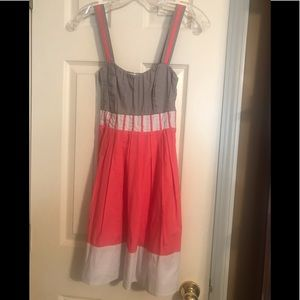 Coralish red white and beige dress with tie